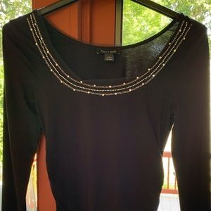 White House Black Market S Scoop Neck Top Jeweled
